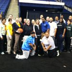 A special thank you to @GCSchoolsNC teachers for participating in knockout at the @UNCGBasketball game #letsgoG http://t.co/JsWp11STaZ