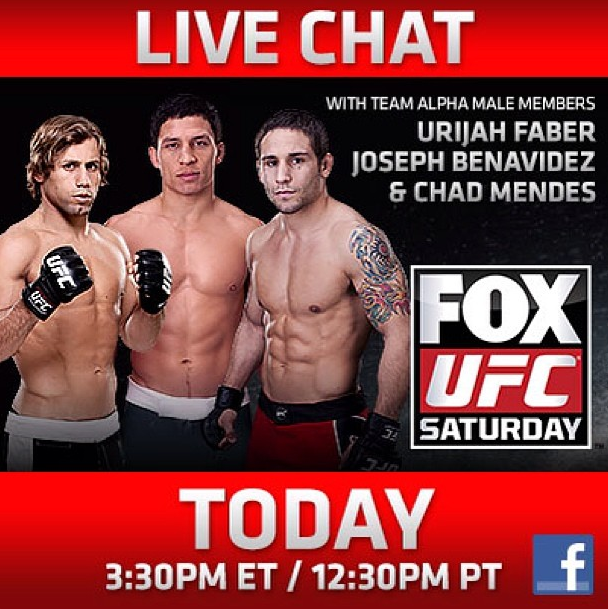 1 hr until the LIVE Facebook chat w Team Alpha Male's @urijahfaber @chadmendes & @JoeJitsu ! http://t.co/Se1oxKcAvS http://t.co/CkWB8lVMj2