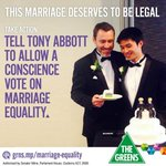 Join us in asking Tony Abbott to allow Coalition members a conscience vote #MarriageEquality http://t.co/K6fwfkNHnm http://t.co/tD7Q8doZ2g