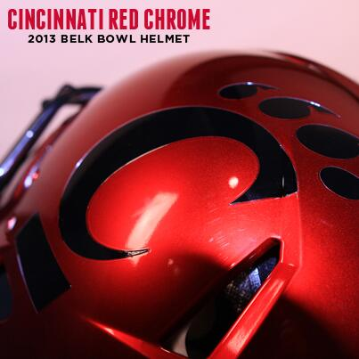 First look at our @BelkBowl helmets. #Bearcats will be wearing #UCRedChrome http://t.co/kMWoY33JQx