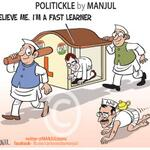 ":) genius....""@MANJULtoons: Rahul Gandhi vows to learn from @ArvindKejriwals @AamAadmiParty. My #cartoon http://t.co/d5uIMPykkr"""