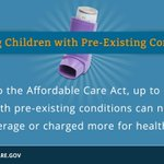 RT @WhiteHouse: Kids with pre-existing conditions: 1. Cant be denied coverage 2. Cant be charged more #Obamacare, http://t.co/fcLBPPFWb4