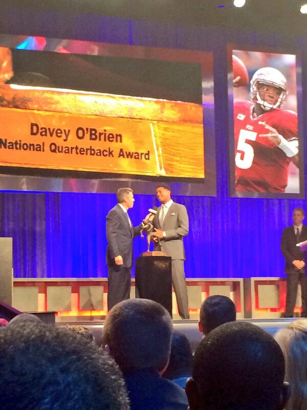 RT @FSU_Football: Jameis Winston talks to Chris Fowler after winning the @daveyobrien Award! http://t.co/XvzuuXlx3x