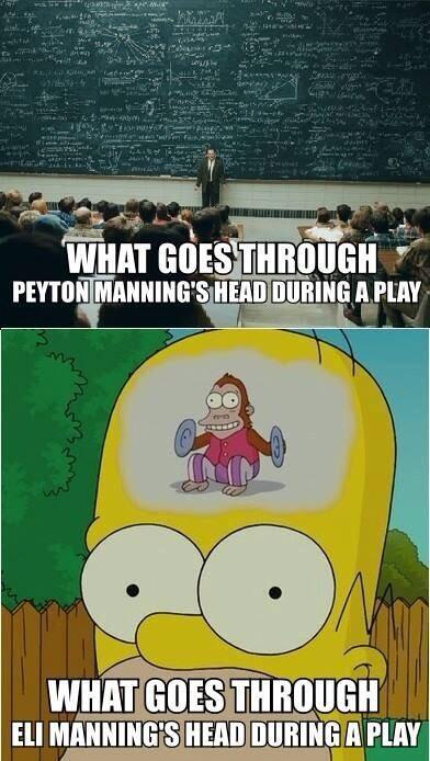 @NFL_Memes: Eli vs Peyton LMFAO, seems to be working though Eli's got 2 rings