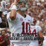 AJ McCarron wins the @TheMaxwellAward for Player of the Year! First recipient of the award from Alabama! #RollTide http://t.co/UfMzHK3060