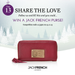 Day 13 of our #competition - SHARE THE LOVE - RT & FOLLOW for the chance to win a Jack French London purse! :) http://t.co/zrHY6PdC4X