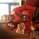 Look at these two beauties... @markdennison and weather goddess @melcoles1 with for #ChristmasJumperDay http://t.co/JitJJ1sAxh