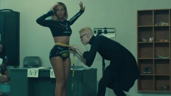 A cheeky teaser image from Beyonce's new video 'Pretty Hurts' featuring Shaun Ross! #beyonce #amck #music http://t.co/6fO5MLLzHd