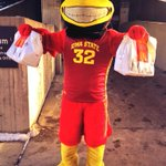 Cy helped deliver sandwiches to all of our dedicated students camped out for tonights game. #cyclONEnation http://t.co/kNu252ZyBl