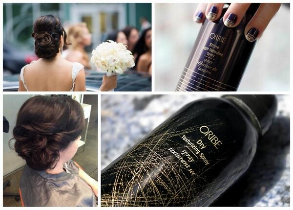 "Bridal styles created by wedding hair expert Dana Tizzio using @oribe  ""Dry"" and ""Shine"" sprays for best updo results http://t.co/D3cnALarP0"
