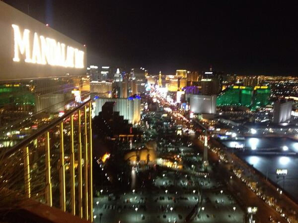 From high atop @MandalayBay - the best view of the Strip in #Vegas http://t.co/WOr2IMggOr
