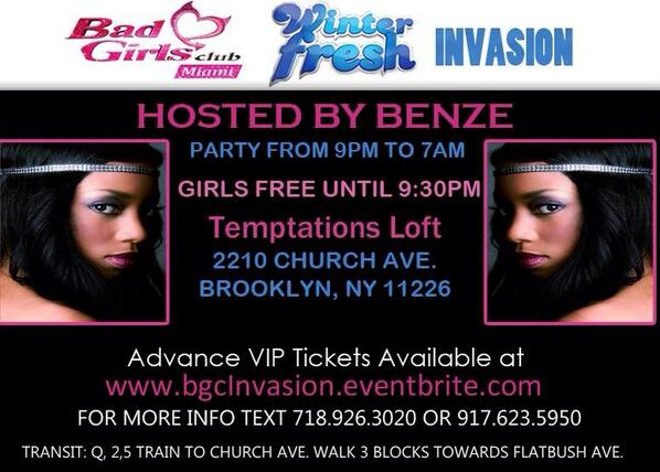 #Tonight it's #BGCMIAMI   #WinterInvasion Hosted by @benze_lohan at Temptations 2210 Church Ave. BK, NY 11226 http://t.co/Jz2bVD9sM9
