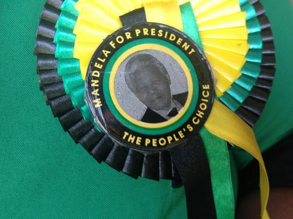 RT @BBCRosAtkins: This is a badge for the ages. An ANC Women's League member has a Mandela badge on from 1994's election campaign. http://t.co/EfK9006DjG