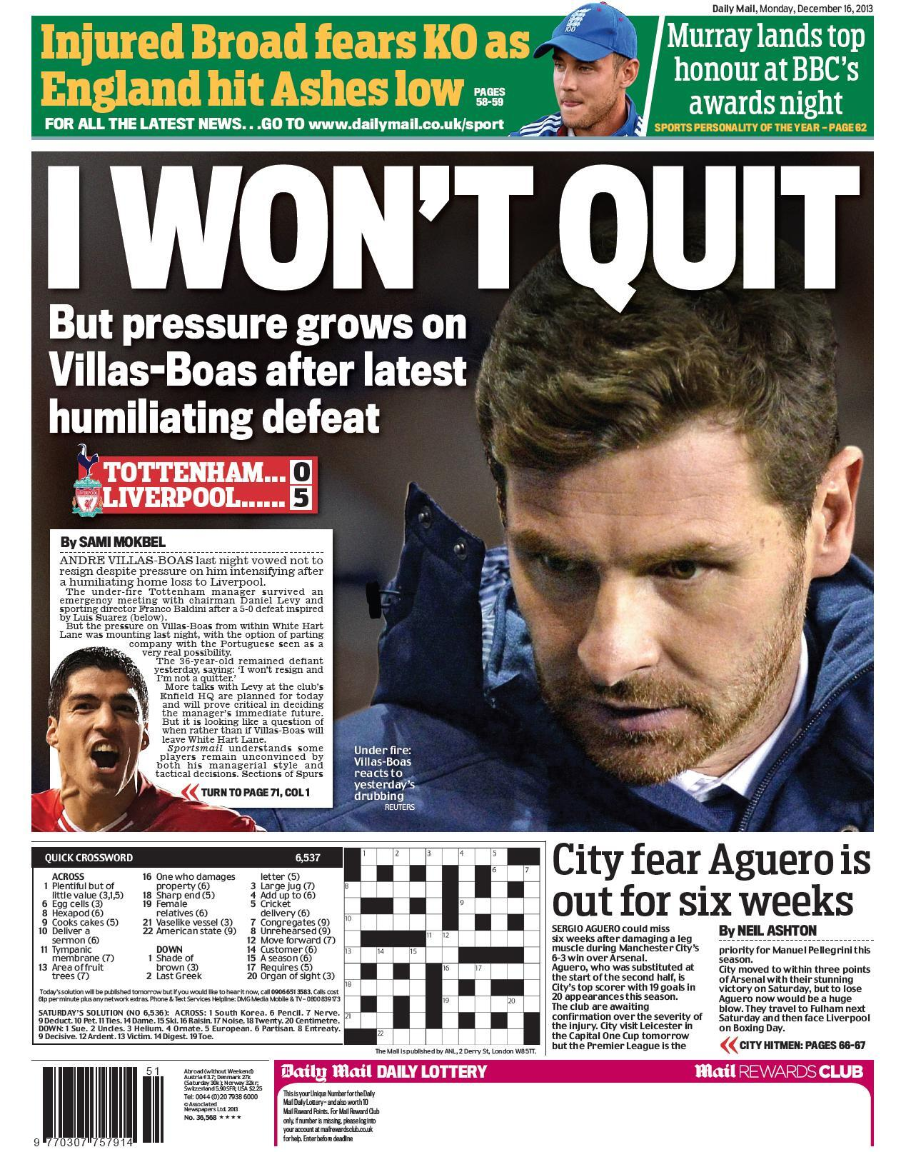 Manchester Citys Sergio Aguero to miss six weeks with a calf injury [Mail & Star]