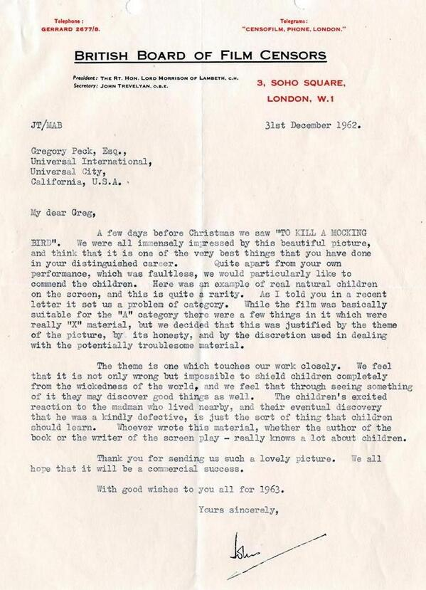 A 1962 letter from Britain's film censor to Gregory Peck, after watching To Kill A Mockingbird: https://t.co/Kve632ezDO (via @LettersOfNote)