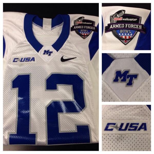 MTSU @ArmedForcesBowl Jerseys are in and ready for Dec 30th showdown against Navy. http://t.co/ZUKhtLSfiV