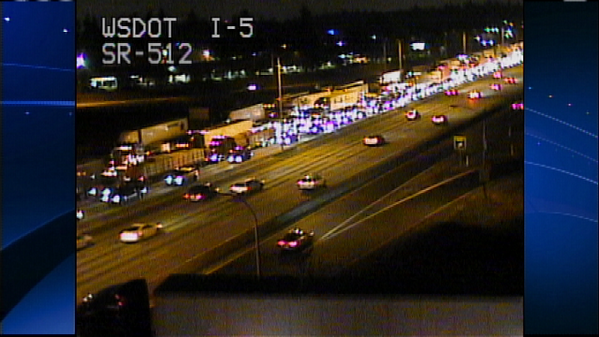 Alexis Smith (@AlexisASmith): SB I-5 not moving through Lakewood. Backup has reached 15 miles into Tacoma. No great options for alt. @KIRO7Seattle http://t.co/GMkvwvALZ5
