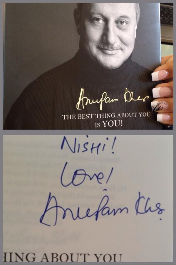 Enjoy.:) @iamnishi1: Look what just arrived!! #TheBestThingAboutYouIsYou Thank you so much @AnupamPkher http://t.co/IWe3W5YpUB""