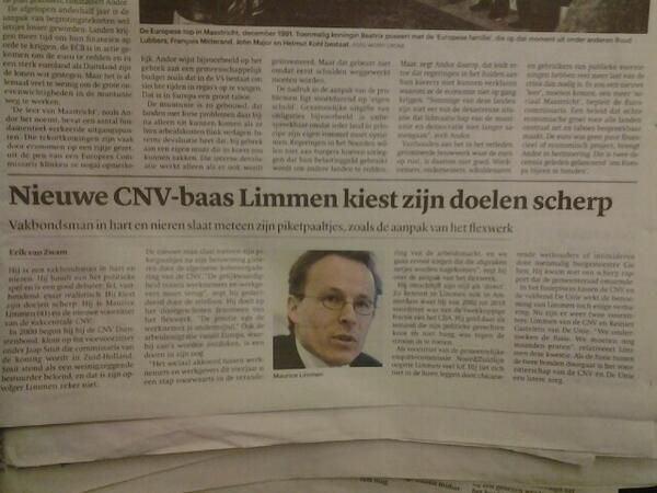 Nieuwe CNV baas Maurice Limmen kiest zijn doelen scherp. Mooi stuk in #trouw over onze nieuwe voorzitter. http://t.co/htJntUvf8u