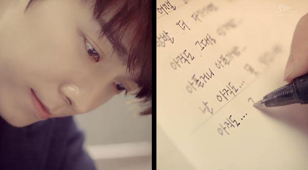 [CAP] Super Junior Donghae & Eunhyuk 아직도 난 (Still You) - Donghae writing the song lyric http://t.co/Pg1CFBYxUm