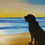 RT @PaintedbyCarol: Days End #Dog #Beach #Sunset #Acrylic #Painting #pottiteam http://t.co/5xjukMuCdF http://t.co/rQD6s0E0cC
