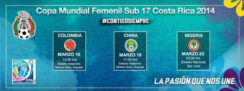 El Calendario de la Selección Femenil Sub 17 en la Copa Mundial de Costa Rica 2014 http://t.co/ssrG372PPG