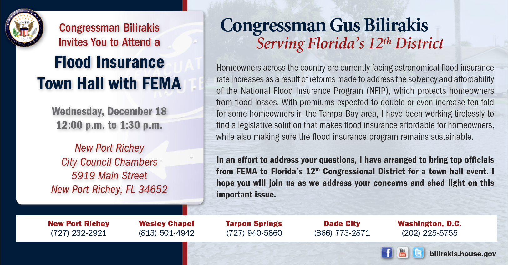 I look fwd to speaking w everyone at my #FloodInsurance Town Hall today. If you have any ?s, pls call: 813-501-4942. http://t.co/DJMT16yNsR