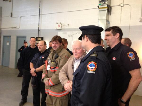 Charlsie Agro (@CBCharlsie): All smiles! 80 year old man poses for photo with the men who saved his life #sl http://t.co/48HI9mKYWg