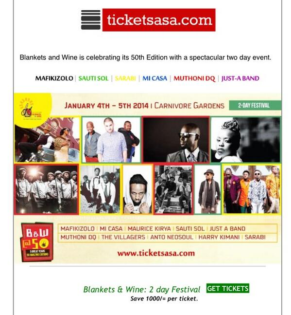 If your looking for tickets for @blanketsandwine @50 this weekend, save both your credit AND Kshs. 1000 here... http://t.co/SeQ44tOOwq