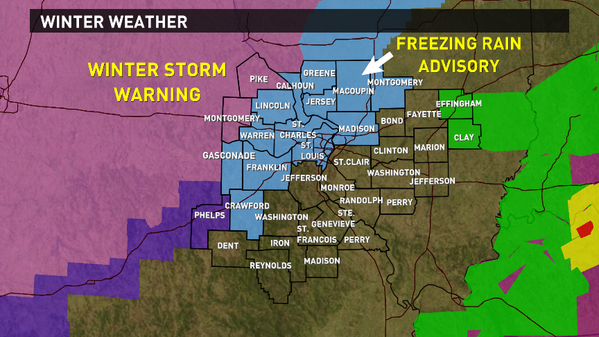 Bree Smith (@BreeSmithWx): Freezing Rain Advisory along and N or I44/I70 corridor...light glaze on untreated/elevated surfaces #KSDK http://t.co/iawUQfw9oY