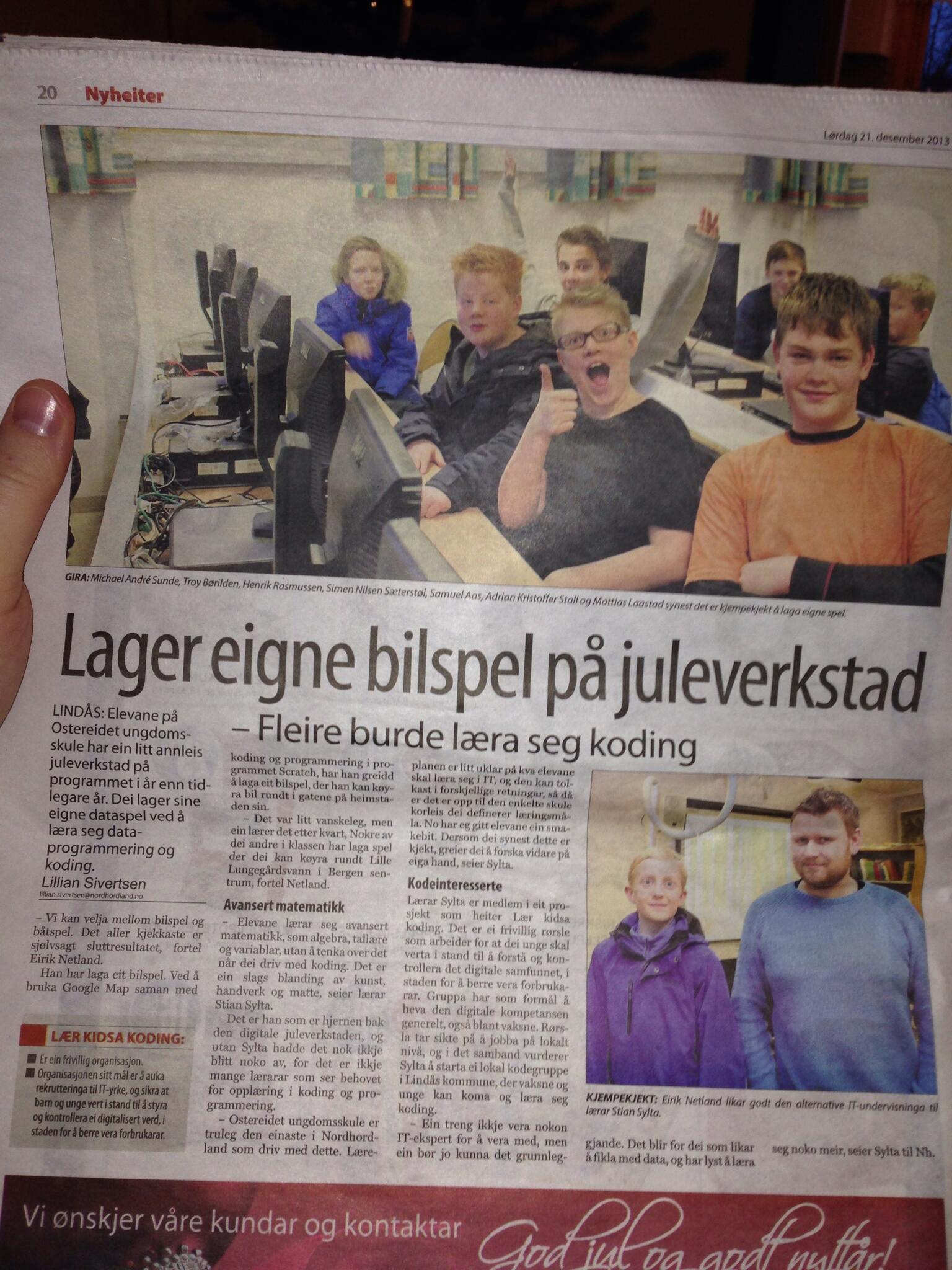 Koding på Ostereidet. Kjekt at lokalavisene bryr seg.  Fin oppsummering av #kidsakoder òg :) #lærerhverdag http://t.co/9j3CRlIYkM