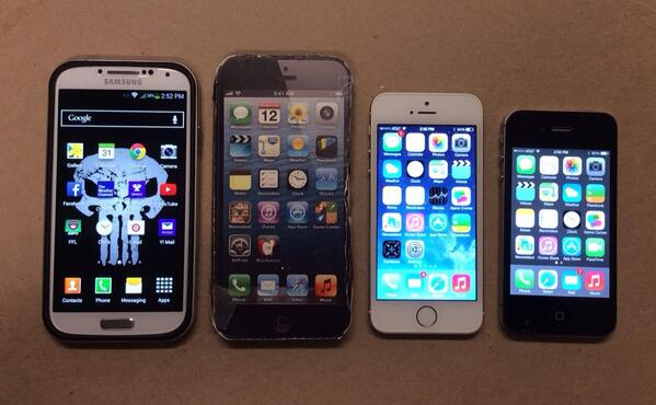 """I printed out and mocked up the @MacRumors rumored 5"""" iPhone 6 and compared with 4S, 5S and GS4. Thoughts? http://t.co/HUhc8PKzpg"""