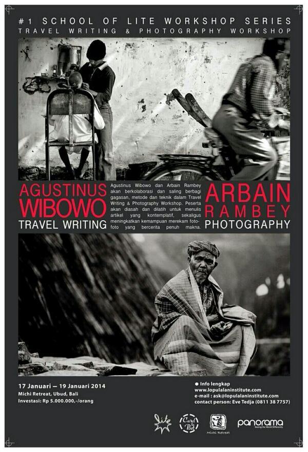 Siapa tau ada yg pengin ikutan... Pelatihan penulisan travel dan fotografi di Ubud sama @avgustin88 dan @arbainrambey http://t.co/PcUqx3VN3t
