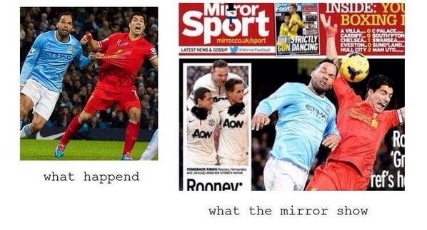 Bccc1czIMAABZ0J Media Bias! The Mirror attempt to smear Liverpools Suarez despite being fouled v Manchester City