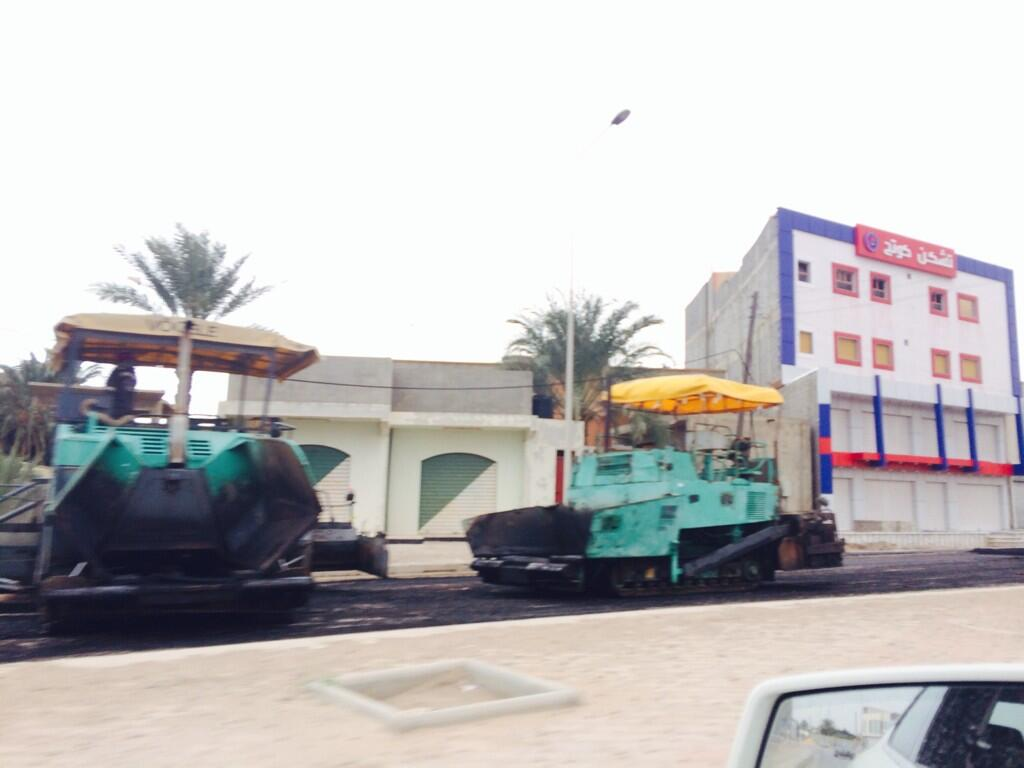 Today I've spotted at least 3 points were roads asphalt peeled off & re-paved a remarkable change #Misrata http://t.co/dcsNGGeScB