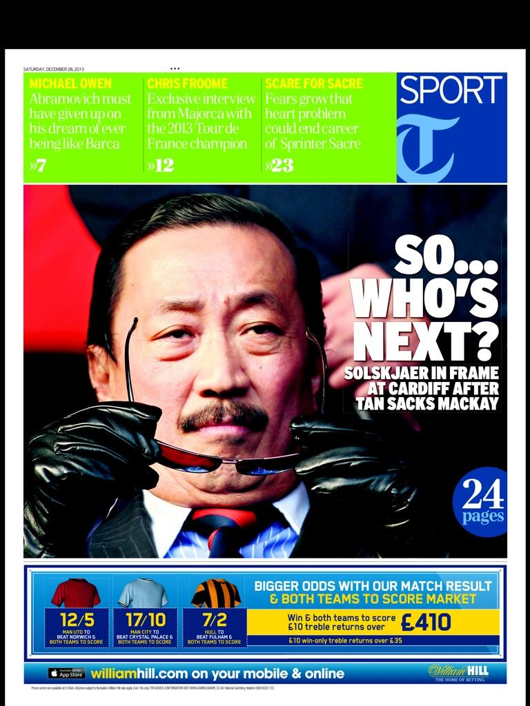 Mourning Mackay: Telegraph front page shows Vincent Tan looking especially evil in tinted glasses & leather gloves