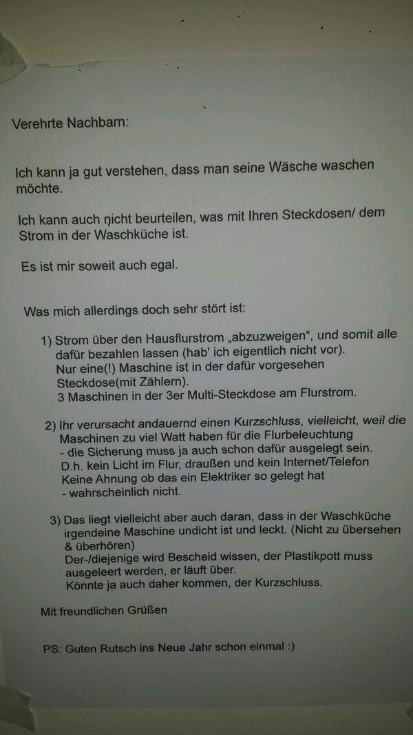 Brief Für Nachbarn Wegen Umzug : Nachbarn die unbedingt zettel in den flur hängen mussten