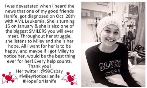 @MileyCyrusTour please RT this so @TishCyrus @MileyCyrus can see. SMILER with Leukemia who WISHES to meet MILEY!! http://t.co/NPzBoTweDn xo