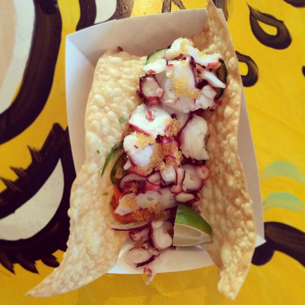 Tako Taco: Butter poached octopus, crispy moo shu wrap, with a vegetable ceviche, tobiko @ ESK South Lamar @pqui http://t.co/LPLd8oW0TU