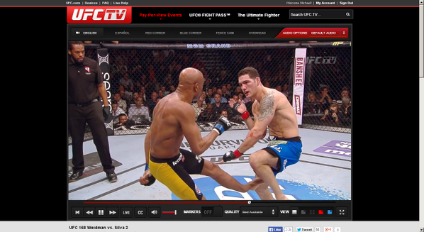 Well, in case anyone wants to throw up a bit in their mouth, here's a screengrab from Anderson and Weidman. #UFC168 http://t.co/B58CZk8ELF
