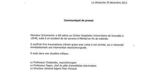 Officieel bericht van het ziekenhuis in Grenoble. #schumacher  http://t.co/0Fn0xJt36H