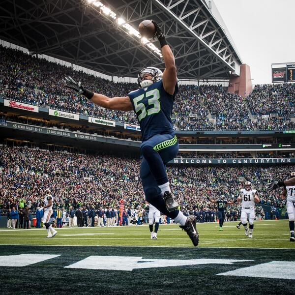 #Seahawks linebacker Malcolm Smith (@MalcSmitty) soars towards the end zone with a pick six against the Rams. http://t.co/6dUQ6P3kDe
