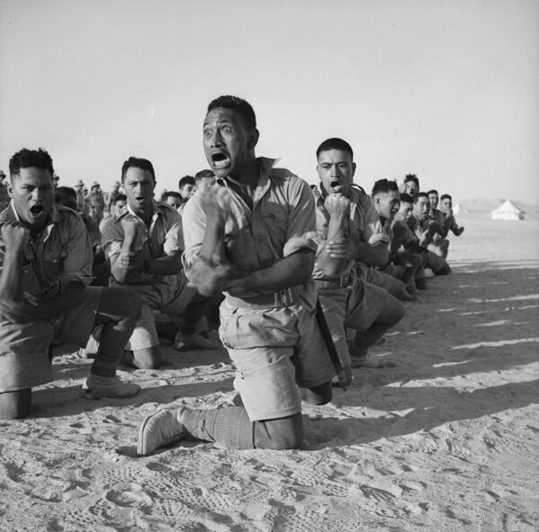 Maori Battalion doing the Haka in North Africa, 1941 http://t.co/8Y42PWXJZ2