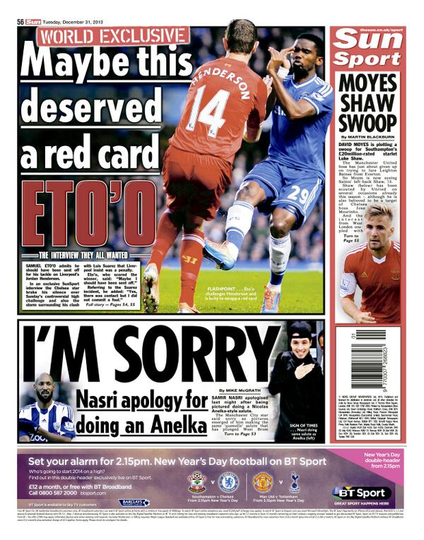 BcxF0hOCQAAYcbd Samuel Etoo admits he should have been sent off for challenge on Jordan Henderson (Chelsea 2   Liverpool 1)