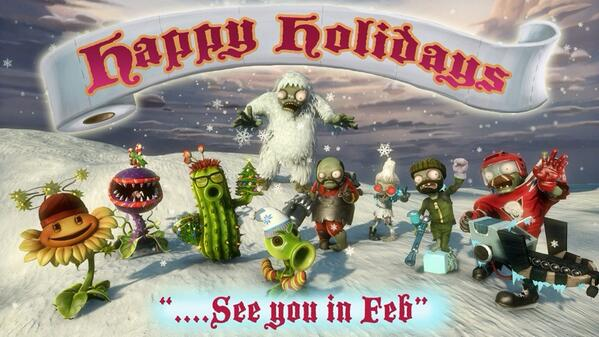 Plants vs. Zombies (@PlantsvsZombies): Happy Holidays from the #PvZGW team! http://t.co/YFHzkt5e4o