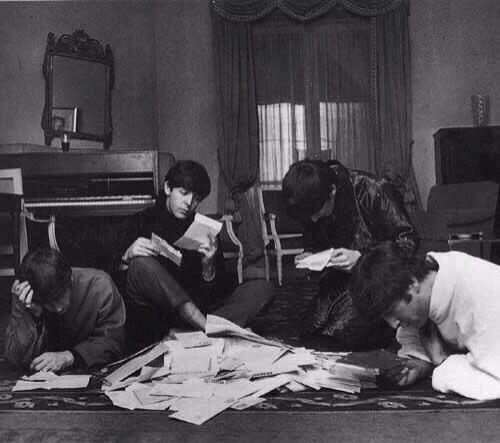 The Beatles reading and answering letters from fans, 1964. http://t.co/09K05qEAFD