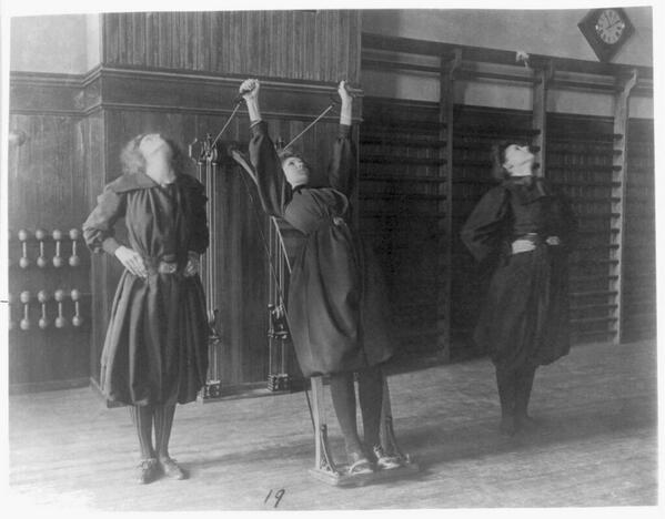 Female students exercising in the gym, 1899 http://t.co/nyDyOIv8Nc