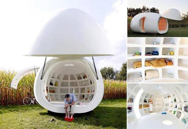บ้านทรงไข่เคลื่อนย้ายได้ มีทั้งห้องนํ้า ห้องครัว ห้องนอน และที่เก็บของเพียบ! ออกแบบโดยสถาปนิกชาวเบลเยี่ยม (dmvA arch) http://t.co/yF1Q4cGu4F