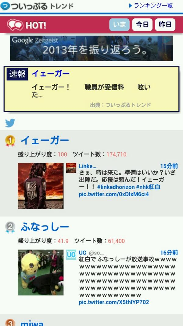 【速報】イェーガー のツイートが17万ツイートを突破 pic.twitter.com/1BlVHktc8B
