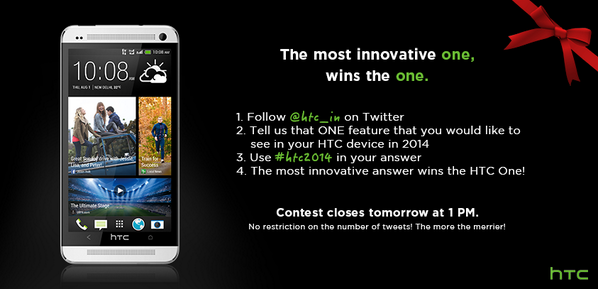 Here's The Contest! Grab your chance to own the HTC ONE and double your new year's celebration too! #htc2014 http://t.co/BqmugfBV4C